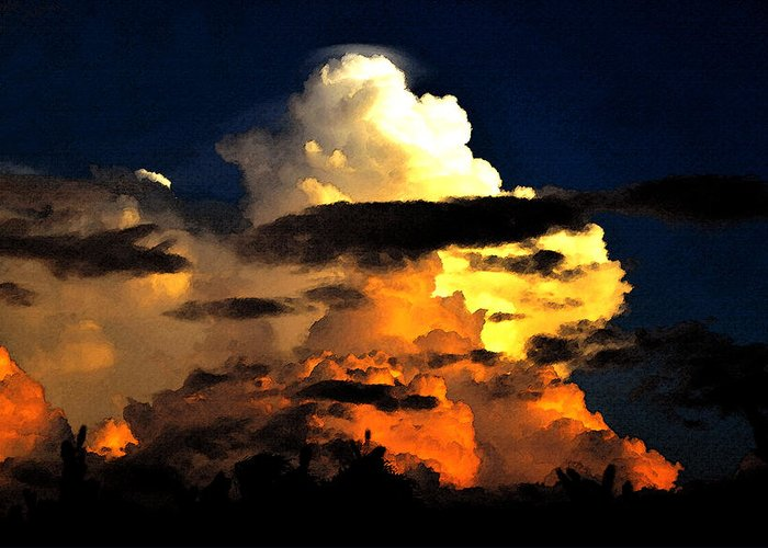 Storm Clouds Greeting Card featuring the painting Storm At Dusk by David Lee Thompson
