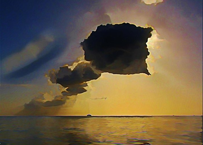 Grand Cayman Greeting Card featuring the painting Storm Cloud Over Calm Waters by John Malone