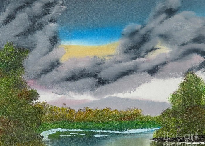 Landscape Greeting Card featuring the painting Storm Clouds by Dave Atkins