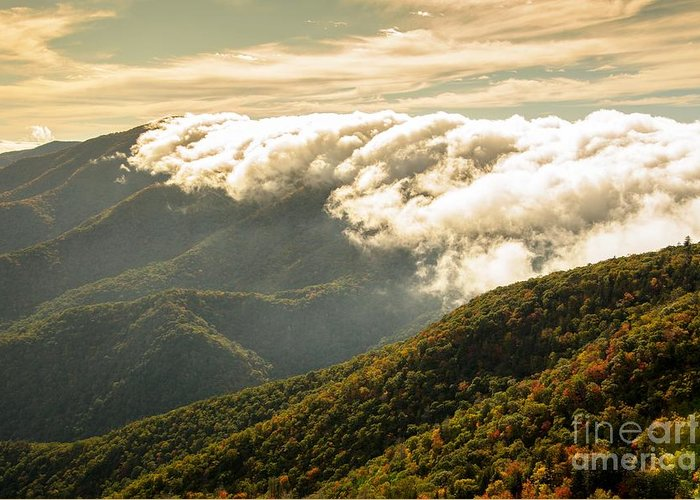 Storm Greeting Card featuring the photograph Storm Clouds Moving Out On The Blue Ridge by Larry Knupp