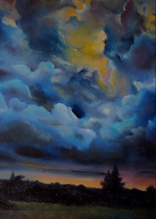 Nature Greeting Card featuring the painting Storm Coming At The Sunset by Alessandra Andrisani