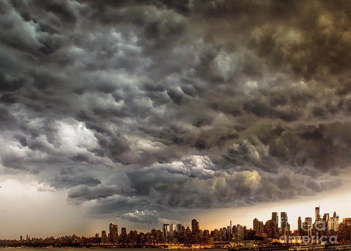 Weather Greeting Card featuring the photograph Storm Coulds Over Nyc by Jerry Fornarotto