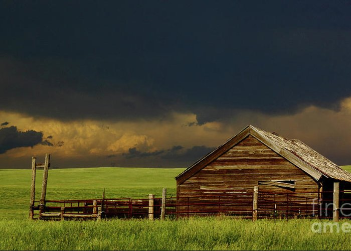 Barn Greeting Card featuring the photograph Storm Crossing Prairie 2 by Robert Frederick