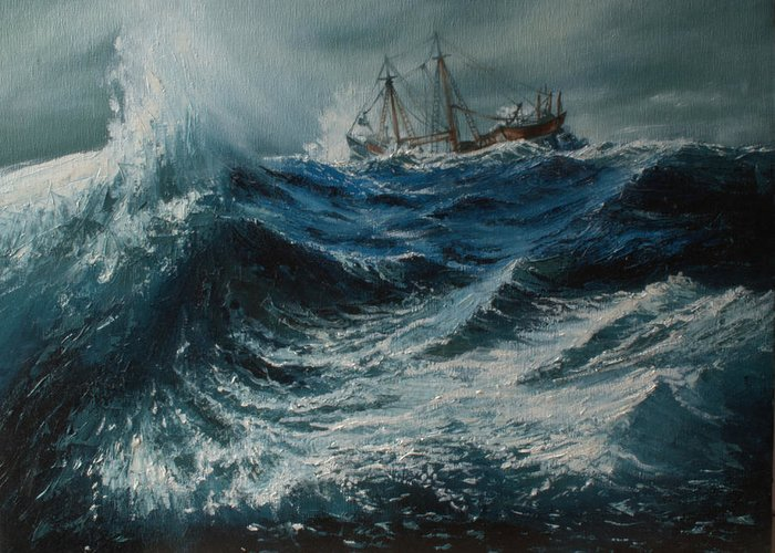 Storm Greeting Card featuring the painting Storm In The Sea by Shobita Sreekumar