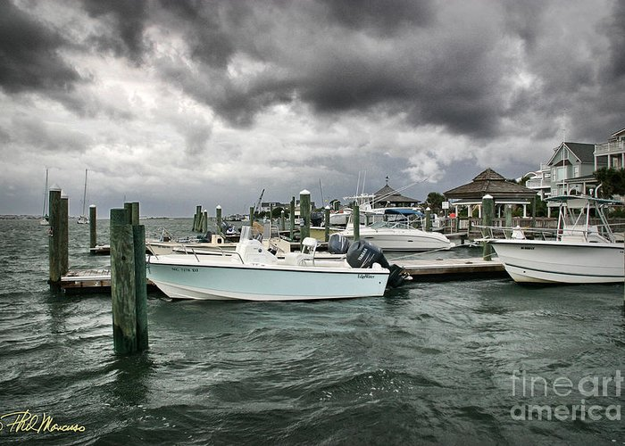 Nautical Greeting Card featuring the photograph Storm Over Banks Channel by Phil Mancuso