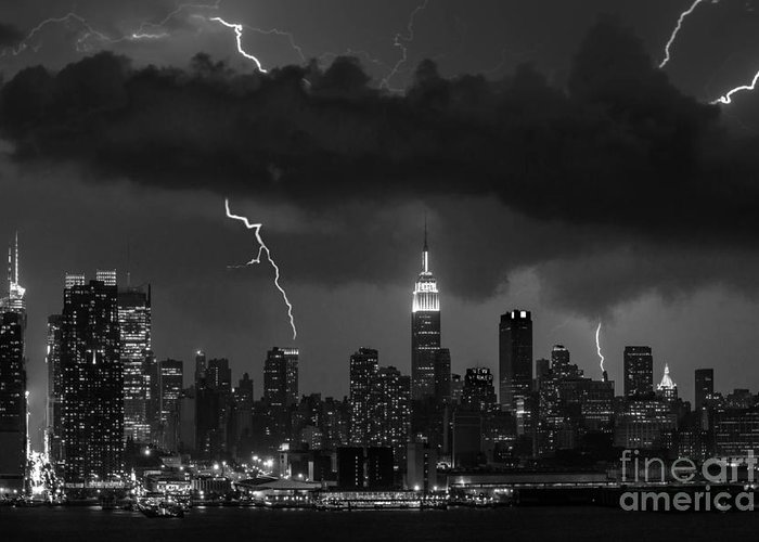 New York City Greeting Card featuring the photograph Storm Over Nyc by Jerry Fornarotto