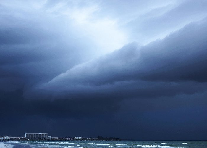 Storm Greeting Card featuring the painting Storm Over Siesta Key - Beach Art By Sharon Cummings by Sharon Cummings