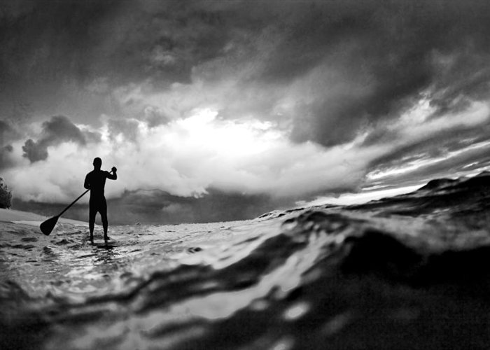 Sup Greeting Card featuring the photograph Storm Paddler by Sean Davey