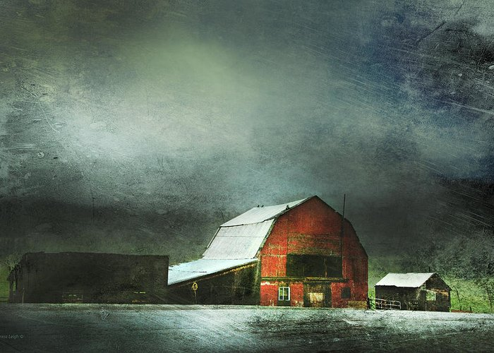 Red Barn Greeting Card featuring the photograph Storm by Theresa Tahara
