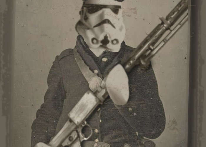 Storm Trooper Greeting Card featuring the painting Storm Trooper Star Wars Antique Photo by Tony Rubino
