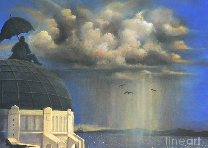 Storm Greeting Card featuring the painting Storm Watch at Griffith's by - Artificium -