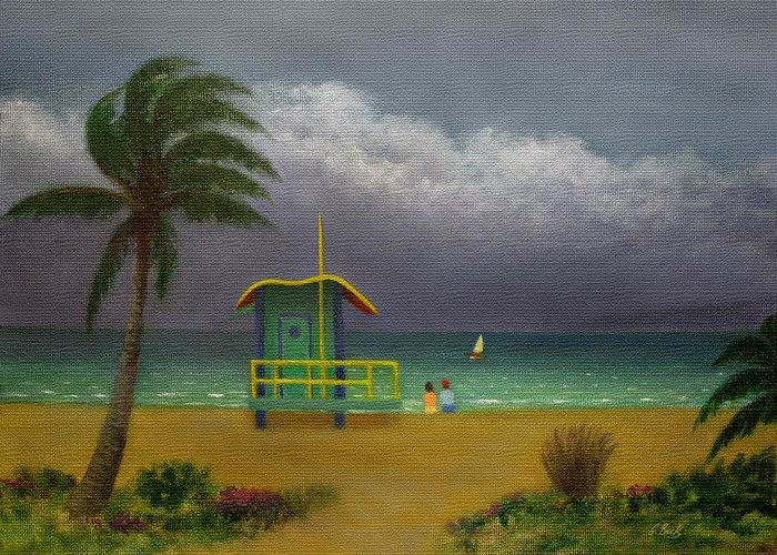 Tropical Greeting Card featuring the painting Storm Watchers by Gordon Beck