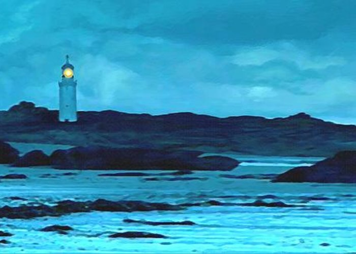 Lighthouse Greeting Card featuring the painting Storm's Brewing by Sophia Schmierer