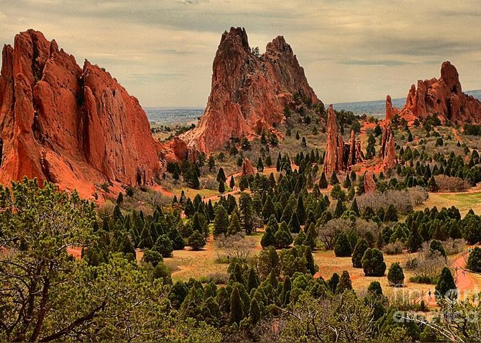 Garden Of The Gods Greeting Card featuring the photograph Storms Passing Over The Garden by Adam Jewell