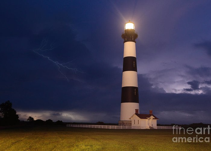 Outer Banks Greeting Card featuring the photograph Stormy Bodie Lighthouse Outer Banks I by Dan Carmichael