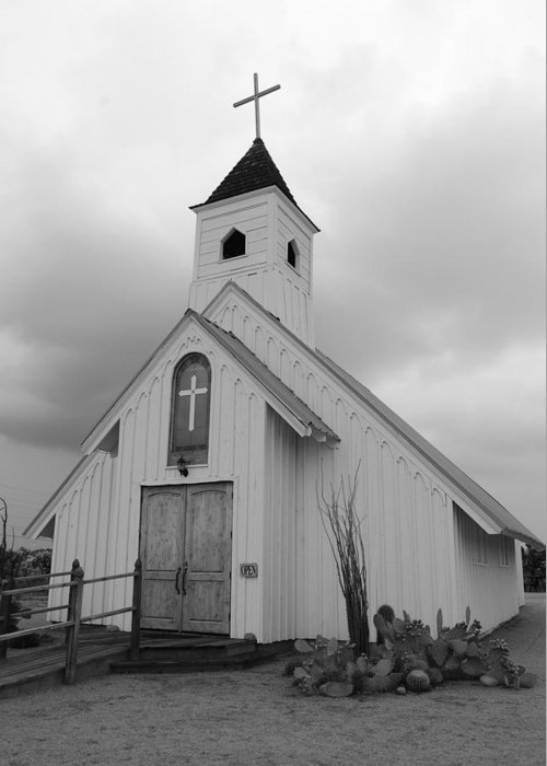 Church Greeting Card featuring the photograph Stormy Church In Black And White by Jill Baum