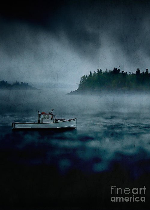 Alaska Greeting Card featuring the photograph Stormy Night Off The Coast Of Maine by Edward Fielding
