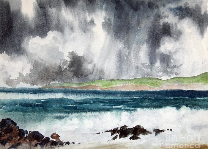 Ocean Greeting Card featuring the painting Stormy Ocean by Anthony Coulson