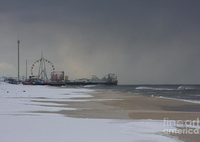 Funtown Pier Greeting Card featuring the photograph Stormy Piers by Laura Wroblewski