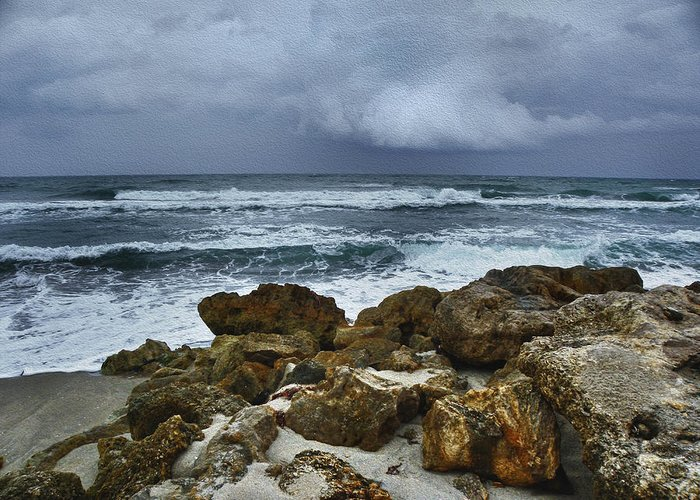 Ocean Greeting Card featuring the photograph Stormy Sky And Ocean Waves by Julie Palencia