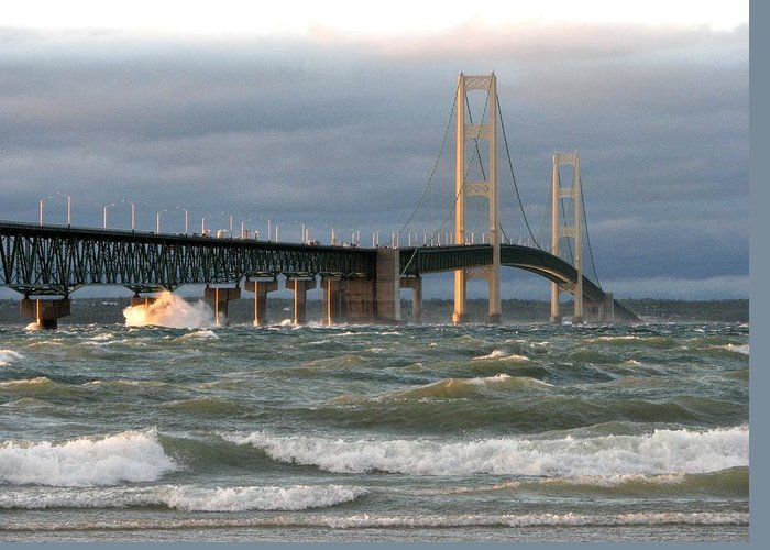 Storm Greeting Card featuring the photograph Stormy Straits Of Mackinac by Keith Stokes