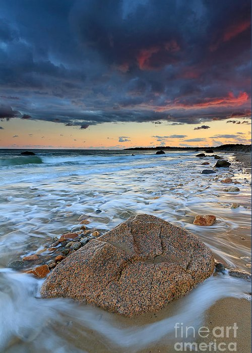 Storm Clouds Greeting Card featuring the photograph Stormy Sunset Seascape by Katherine Gendreau