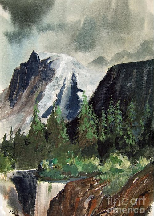 Storms Greeting Card featuring the painting Stormy Waterfall by Anthony Coulson