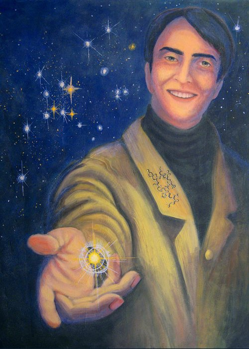 Carlsagan Greeting Card featuring the painting Storyteller Of Stars - Artwork For The Science Tarot by Janelle Schneider