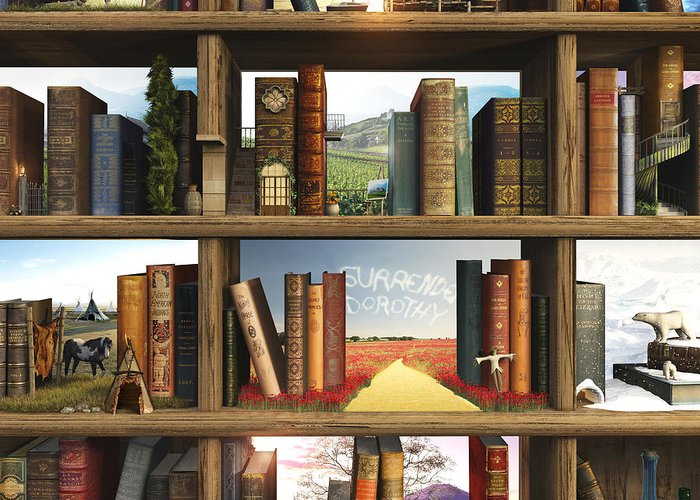 Books Greeting Card featuring the digital art Storyworld by Cynthia Decker