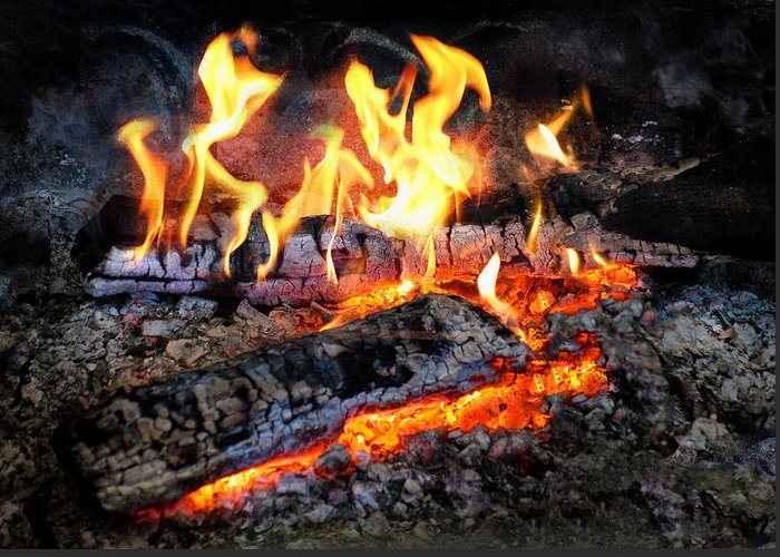 Suburbanscenes Greeting Card featuring the photograph Stove - The Yule Log by Mike Savad