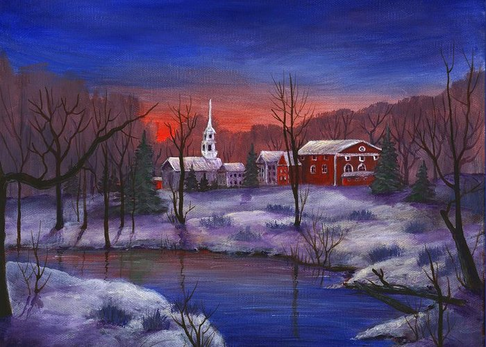 Malakhova Greeting Card featuring the painting Stowe - Vermont by Anastasiya Malakhova