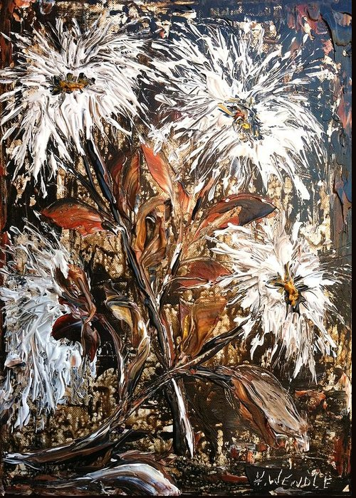 White Greeting Card featuring the painting Straggly Flowers by Helen Wendle