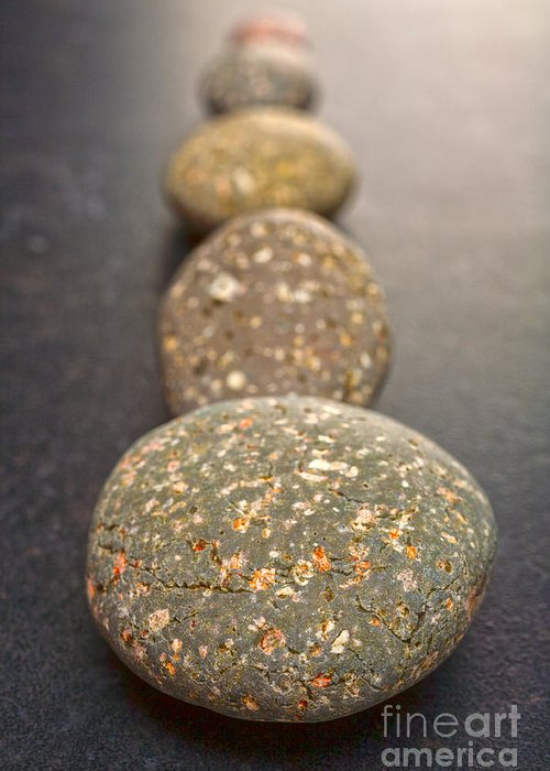 Stone Greeting Card featuring the photograph Straight Line Of Speckled Grey Pebbles On Dark Background by Colin and Linda McKie