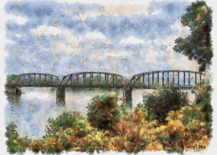 Strang Greeting Card featuring the painting Strang Bridge by Jeff Kolker