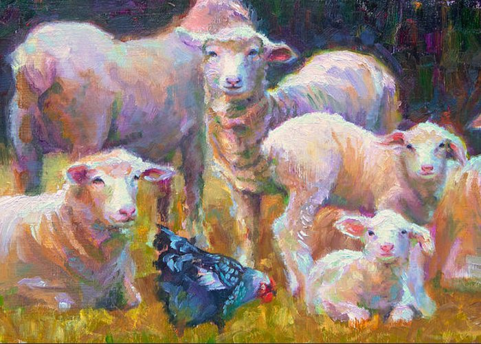 Lamb Greeting Card featuring the painting Stranger At The Well - Spring Lambs Sheep And Hen by Talya Johnson