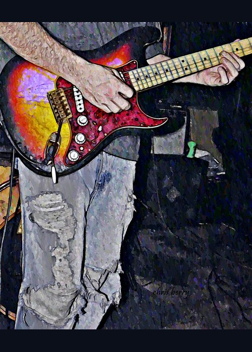 Music Greeting Card featuring the photograph Strat Man by Chris Berry