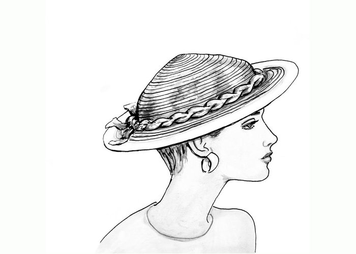 Fashion Illustration Greeting Card featuring the drawing Straw Hat by Sarah Parks