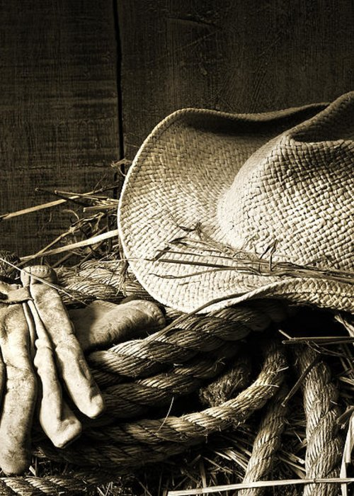 Bale Greeting Card featuring the photograph Straw Hat With Gloves On A Bale Of Hay by Sandra Cunningham