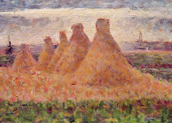 Stacks Greeting Card featuring the painting Straw Stacks by Georges Pierre Seurat