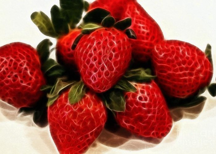 Strawberries Expressive Brushstrokes Greeting Card featuring the photograph Strawberries Expressive Brushstrokes by Barbara Griffin