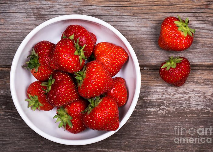 Wood Greeting Card featuring the photograph Strawberries by Jane Rix
