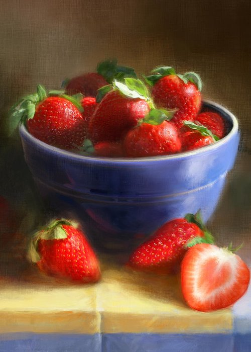 Strawberry Greeting Card featuring the painting Strawberries on Yellow and Blue by Robert Papp
