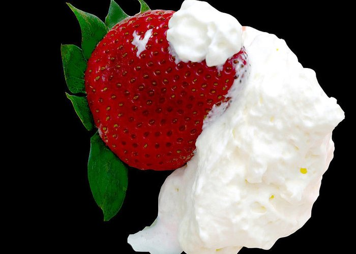 Strawberry Greeting Card featuring the photograph Strawberry And Cream by Camille Lopez