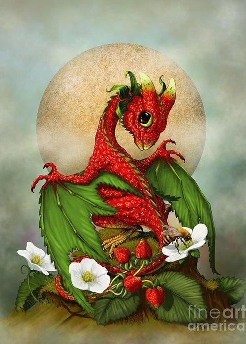 Strawberries Digital Art Greeting Cards