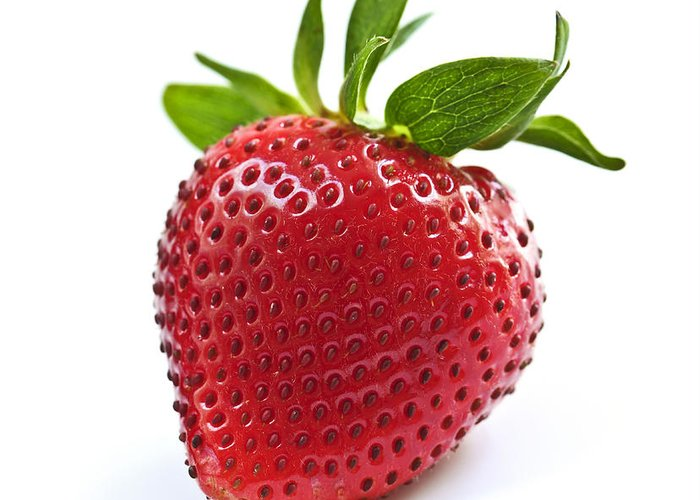 Strawberry Greeting Card featuring the photograph Strawberry On White Background by Elena Elisseeva