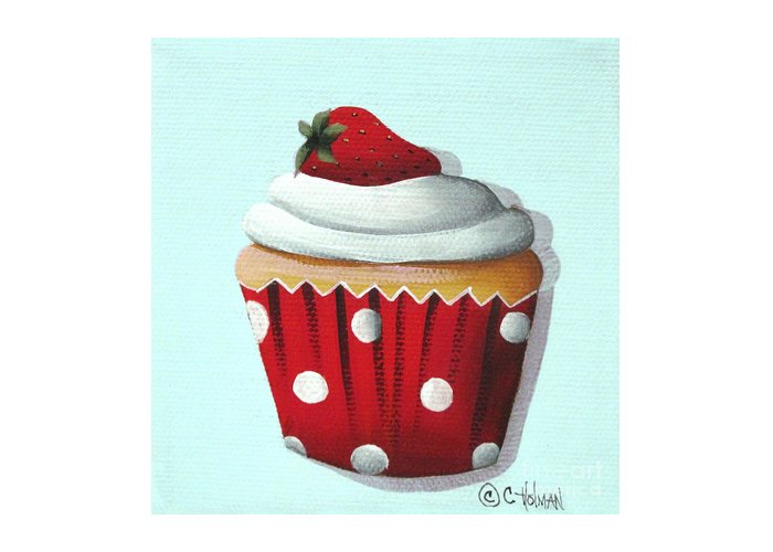 Art Greeting Card featuring the painting Strawberry Shortcake Cupcake by Catherine Holman