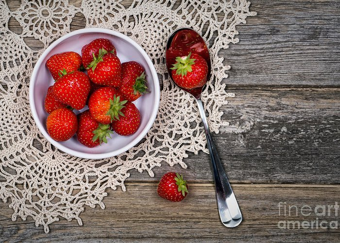 Wood Greeting Card featuring the photograph Strawberry Vintage by Jane Rix