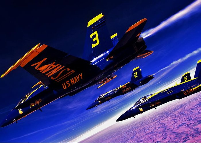 Blue Angels Greeting Card featuring the photograph Streaking Blues by Benjamin Yeager