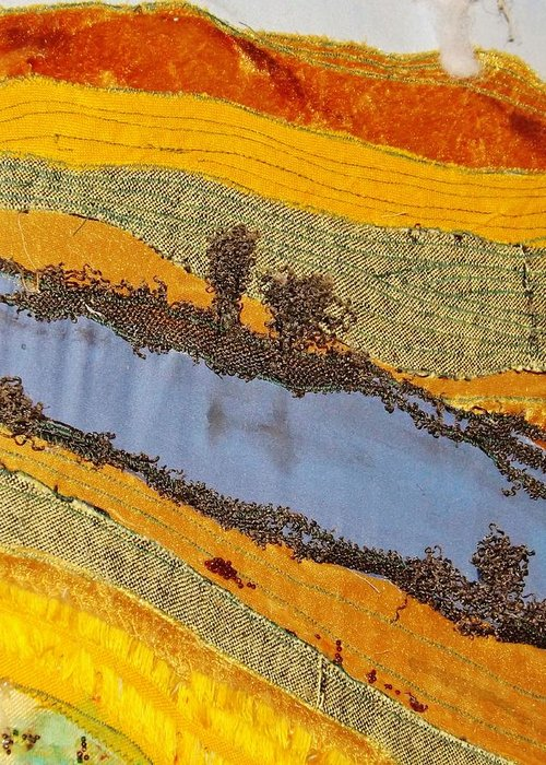 Silk Art Work Greeting Card featuring the tapestry - textile Stream by Katharina May