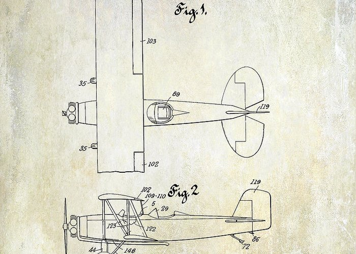 Stearman Airplane Greeting Card featuring the photograph 1929 Stearman Patent Drawing by Jon Neidert